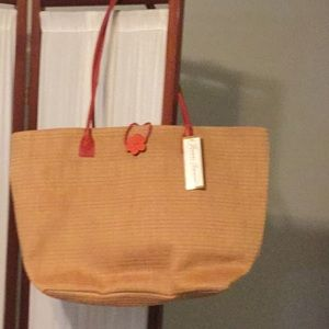 Tan & Red Straw Tote by Jeanne Simmons Accessories